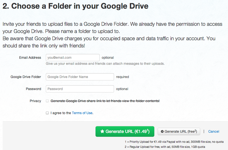 Allow others to upload to your Google Drive without a Google